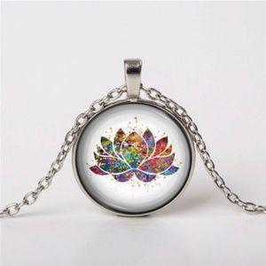 Lotus Cabochon Pendant Necklace